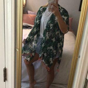 Green leaf kimono/cover up